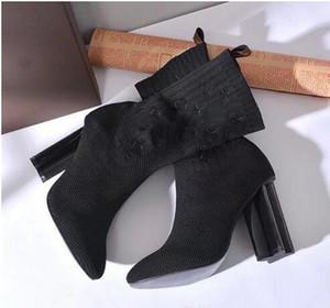 [Orijinal Kutusu] Womens Yüksek Topuk 10 CM Yün Çorap-gibi Patik Bayanlar Yüksek Üst Çizmeler Örme Boyutu 35-40