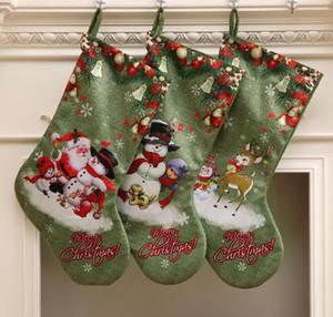 Büyük Yeşil Noel Stocking Hediye Şeker Çanta Merry Christmas Noel Baba Kardan Adam Elk Baskılı Çorap Çorap Noel Dekorasyon