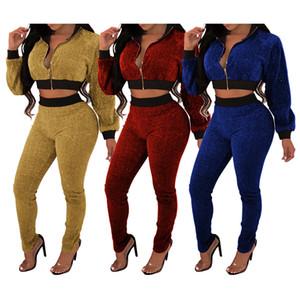 Flanella donne lungo stabilito Suit Pant CHEAP due set piece I pantaloni 2 pezzi Womens Outfits F0635