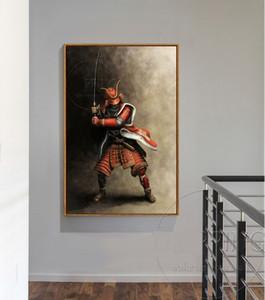 Handgemalte HD Druck Impressionist Kunst Ölgemälde Japanischen Samurai Auf Leinwand, Wand Kunst Wohnkultur Multi Größen / Rahmen Optionen a260
