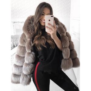 5XL Plus Size femmes manteau en fausse fourrure d'hiver à capuchon manteaux veste chaud épais pull à capuche Fluffy faux manteau de fourrure élégante outwear excessif de