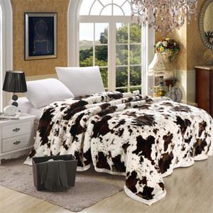 Doble espesor Raschel Manta Animal Cow Skin Flower Print Doble capa Queen Size Bed Thick Warm Winter Mink Mantas