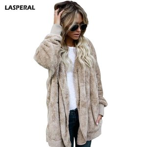 LASPERAL 2018 New Fake Fur Hooded Jacket Donna Fashion Open Stitch Teddy Bear Coat Primavera Donna Autunno Fuzzy Jacket manica lunga