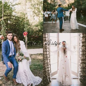 Boho Long Sleeve Wedding Dresses with Lace Floor Length Sheath Chiffon 2018 Cheap Plus Size Hippie Country Wedding Bridal Gowns Backless