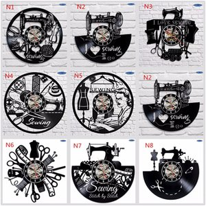 Sewing Salon Wall Clock Tailoring Vinyl Record Clock Hot Sale 12inch 30 cm Tailor Gift Black clockface