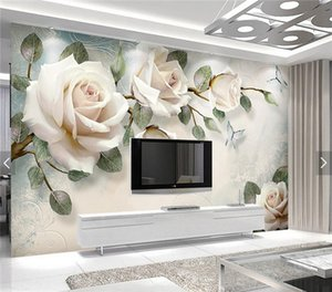 Papel pintado europeo White Rose Flower Mural Photo Wallpapers Living Room Papel de pared 3D papel pintado pared rollos papel de parede