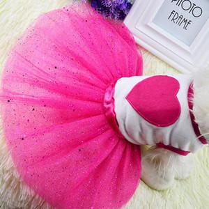 Robe chien mignon Pet Bling Princesse Amour Vêtements Fournitures de mode de fleurs en dentelle Robe de chat de chien Jupe Puppy Printemps Eté Pet Promotion