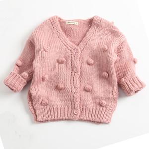 Мода Осень 2020 Baby Knit Кардиган Глубокий V Образным Вырезом Кардиган 3 Цвета Хлопок С Длинным Рукавом Девушки Кардиган Свитера 18092803