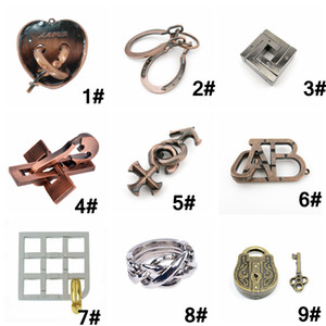 Mind Game Brain Teaser Vintage God Lock Puzzle Magic Trick Kids IQ Test Toy Magic zinc alloy puzzle Intelligence toy 11 Styles AAA1278