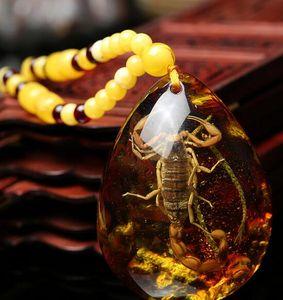 Натуральный Мед Воск Янтарный Кулон Скорпион Образец Насекомых Янтарный Свитер Цепи