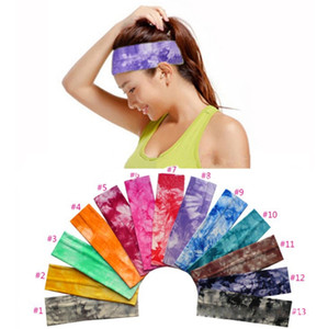 New 13 Tie-Dye Cotton Sports Headband floral Yoga Run Elastic Cotton rope Absorb sweat head band