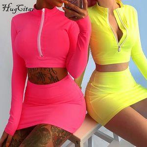 Hugcitar с длинным рукавом с высокой горловиной на молнии облегающее тело топы мини-юбка 2 шт. Комплект 2018 осень зима женская мода твердый комплект
