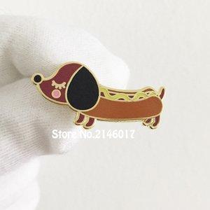 50pcs Hot Doggy Enamel Pins et Broche 30mm Cool Diggity Mignon Chien Épinglette Personnalisé Badges Wiener Dachshund Métal Artisanat