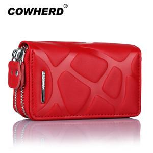 COWHERD 4 Colores Marca Multifunción Bolsa Mujer Hombre Genuino de cuero de Vaca titulares de llaves Doble Cremallera Tarjeta de la Llave de la Moneda Car Case