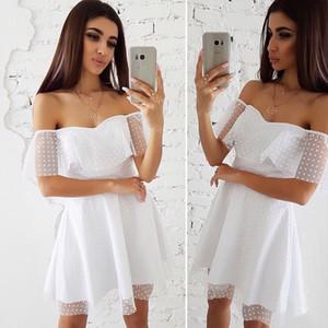 MOARCHO Frauen 2019 Neue frühling Slash Neck Lace Sexy Kleid Dot Weg Von der Schulter Hochzeit Kleid mode Eine Linie Minikleider