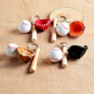 Spedizione gratuita Guanti Da Baseball In Legno Bat portachiavi Mini softball portachiavi da baseball Cartoon Portachiavi Migliore Regalo Di Natale SN1049