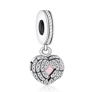 Ailes Angel Aile Pendentifs 925 Sterling Silver Dangle Pave Cristal Cristal Feather Charms Beads Bracelets Bracelets Bracelets Fashion Bijoux