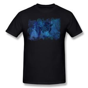 브랜드 뉴 망 % 면화 바다 거북이 티셔츠 망 O를 - 네이비 블루 반소매 T 셔츠 플러스 사이즈 캐주얼 티셔츠