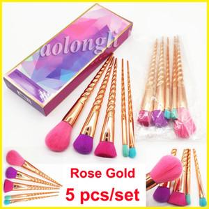 Pinceles de maquillaje conjuntos cosméticos cepillo 5 piezas de colores brillantes Rose oro espiral mango herramientas de pincel de maquillaje Powder Contour cepillos DHL envío gratis