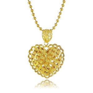 Nuevas llegadas collar de colgantes de oro puro 24 K Delicado colgante de corazón hueco hueco con cadena de hilo joyería vendedora caliente