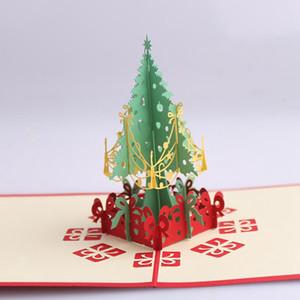 3D Merry Christmas Tree Cartes De Voeux Cartes postales Souvenirs De Thanksgiving Anniversaire De Mariage Cadeau Message Card Party Favor