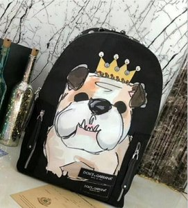 Diseñador de lujo mochilas hombres doble bolsa de hombros con letras de marca Bolsas de mujer Marca de moda paquete de espalda remaches Animal Dog bolsos
