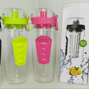 Фрукты Infuser бутылка воды 32 унций с фруктами Infuser лимонная кружка воды чашки инфузии детокс BPA бесплатно Тритан ручка флип бутылки с водой WX9-333