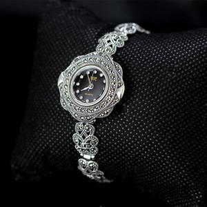 Kadın Tay Gümüş Takı için Zirkon Katı 925 Gümüş Bilezik MetJakt Vintage Kuvars Bileklik Saat