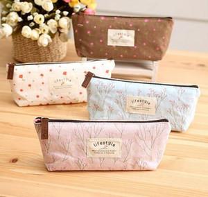 뜨거운 판매 꽃 꽃 연필 캔버스 화장품 화장품 작은 메이크업 도구 가방 스토리지 파우치 지갑