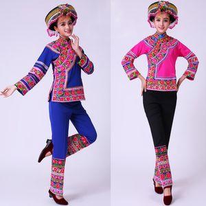 Weiblicher Karneval Phantasie Tanzkleidung Antike Traditionelle Chinesische Tanz-Kostüm Hmong Bühne Kleidung Chinese Folk-Tanz-Kleid Miao Ethnische Kleidung