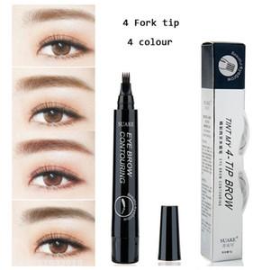 8pcs / lot Marka 4 Mikro Çatal ucu Kaş Dövme Kalem İnce Sketch Sıvı Kaş Kalem su geçirmez Dövme Dayanıklı Kına Eye Brow Pencil Makyaj
