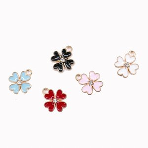 200 pcs  lot Enamel Four Life Clover Charms Pendant 13*16mm good for DIY craft, jewelry making 5 colors