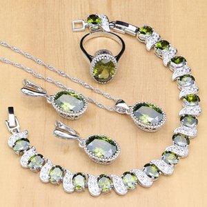 925 Ayar Gümüş Gelin Takı Setleri Zeytin Yeşil Zirkon Boncuk Kadınlar Için Küpe / Kolye / Yüzük / Bilezik / Kolye Seti
