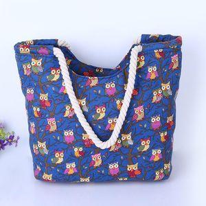 귀여운 올빼미 대형 캔버스 쇼핑 가방 여자를위한 큰 어깨 가방 여름 해변 핸드백 여자 메신저 패션