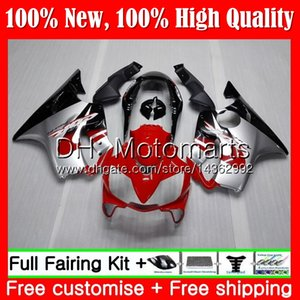 Cuerpo para HONDA CBR600F4 CBR600 F4 99 00 FS 44MT13 CBR 600F4 99 CBR600 FS CBR600FS CBR 600 F4 Rojo plateado 1999 2000 Fairing Bodywork kit