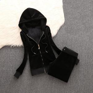2020 Mulheres da marca Tecido de veludo Fatos Velour Suit Mulheres Faixa Suit hoodies e calças
