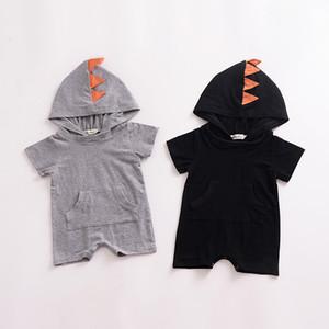 INS 아기 소년 소녀 Romper 만화 스타일 유아 Jumpsuit 공룡 모자 쓴 Rompers 유아 바디 슈트 2018 Summer Kids Clothing Z11