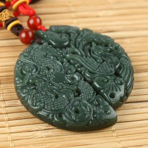Yeşim ve gerçek yeşim kolye, doğal Sincan ve Qingtian yeşim ejderha ve Anka kuşu.