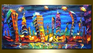 Main à la main énorme mur art couteau peinture à l'huile Leonid Afremov toile art paysage urbain toile peinture à l'huile discount art moderne peintures décoration maison