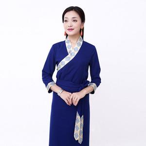 Printemps Eté Vêtements pour femmes Vêtements tibétains Vêtements pour minorités nationales de Chine Vêtements de style de vie Cangpao Tibet Costume traditionnel tibétain