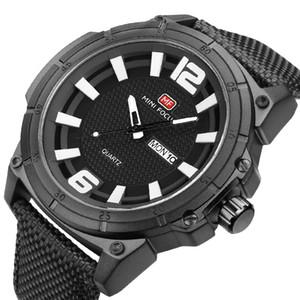 MINIFOCUS Sport Mens Nylon Strap Quartz Watches Date Watch Men Army Military Quartz Movement Watches Relogio Masculino MF0136G