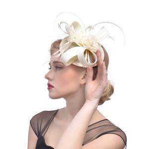 Chapeaux de lin Bourgogne pour la fête des femmes Accessoires de cheveux Plumes Chapeaux de mariage élégant pour tocados nuptiales bodas