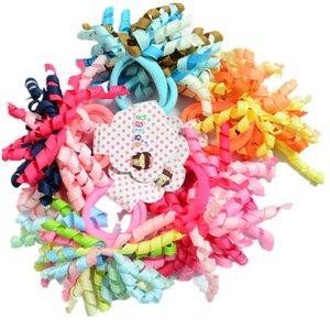 2 Pcs Por Par Colorido Curler Ribbon Crianças Laços de Cabelo das meninas Elásticos de Cabelo bandas anéis acessórios