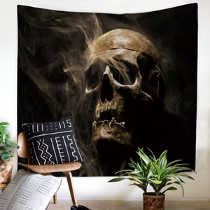 Enipate Halloween Skull Tapisserie Home Decor Polyester Tissu Tenture Murale Jet Bohème Porte Rideau Couverture pour Halloween