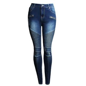 2016 Nouveau Déchiré Femmes Biker Jeans Mode Casual Designer Marque Mid Taille Stretch Skinny Crayon Jeans W0001