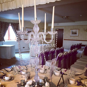 Wedding Decoration Crystal Wedding Centerpiece 90 Cm Tall 5-Arms Candelabra Acrylic Candle Holders Anniversary Ceremony Favors