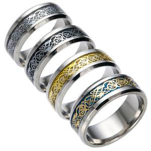 Bonito anillo de acero inoxidable para hombre joyería Vintage Gold Dragon 316L para hombres señor boda anillo de banda de lujo masculino para amantes hombres anillos