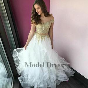 Oro e bianco a due pezzi Prom Dresses Tiered Ruffle Tulle Appliques del merletto al largo della spalla alla moda ragazze Pageant Evening Gowns2020
