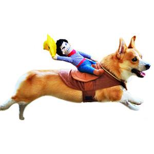 Traje de perro ropa para mascotas ropa para perros mascotas ropa de montar caballo del vaquero del perro del traje de la novedad Ropa divertida del animal doméstico del partido