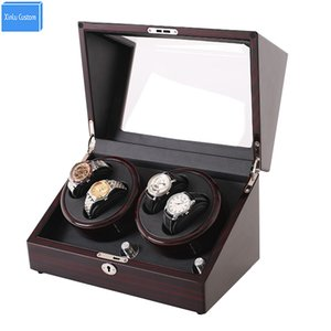 Mahogany leather watch accessories box for automatic watch winder case lock rotator storage movement ratator boxes winders xinlu custom case